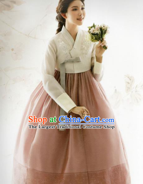 Korean Traditional Hanbok Bride Beige Blouse and Deep Pink Dress Outfits Asian Korea Fashion Costume for Women