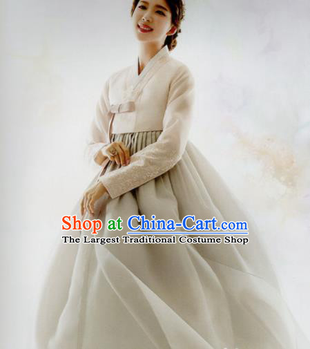 Korean Traditional Hanbok Bride Beige Blouse and Grey Dress Outfits Asian Korea Fashion Costume for Women