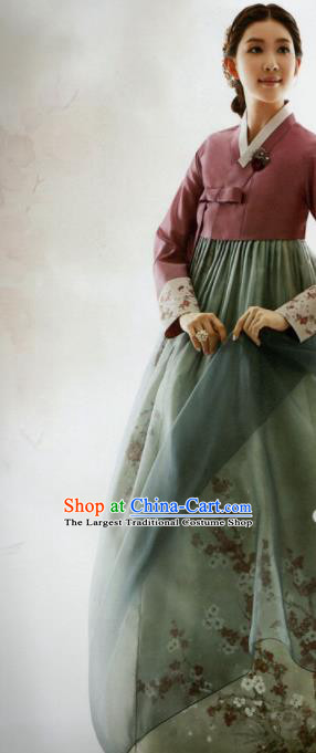 Korean Traditional Hanbok Mother Wine Red Blouse and Printing Green Dress Outfits Asian Korea Wedding Fashion Costume for Women
