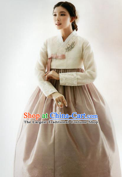 Korean Traditional Hanbok Mother White Blouse and Cameo Brown Dress Outfits Asian Korea Wedding Fashion Costume for Women