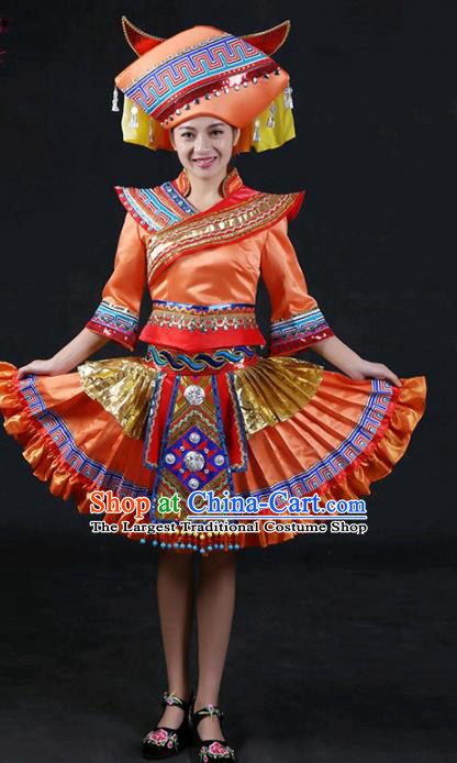 Chinese Traditional Zhuang Nationality Stage Show Orange Short Dress Ethnic Minority Folk Dance Costume for Women