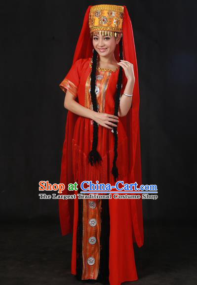 Chinese Traditional Tajik Nationality Red Dress Ethnic Minority Folk Dance Stage Show Costume for Women