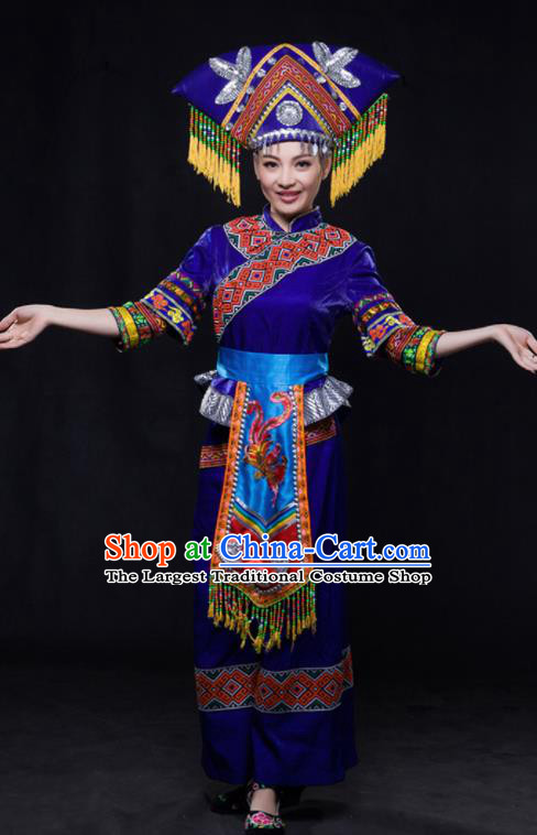 Chinese Traditional Guangxi Zhuang Nationality Royalblue Outfits Ethnic Minority Folk Dance Stage Show Costume for Women