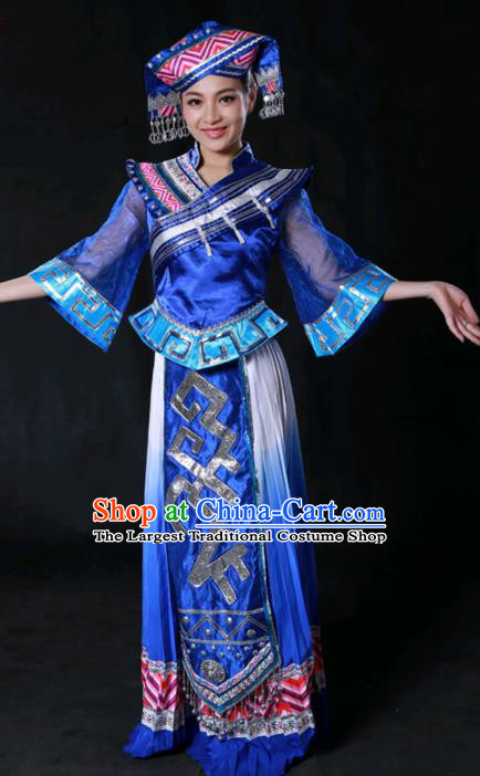 Chinese Traditional Guangxi Zhuang Nationality Royalblue Dress Ethnic Minority Folk Dance Stage Show Costume for Women