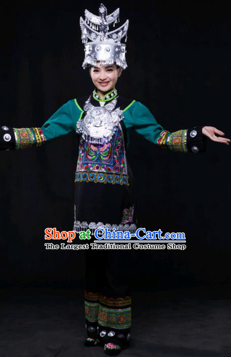 Chinese Traditional Shui Nationality Outfits Ethnic Minority Folk Dance Stage Show Costume for Women