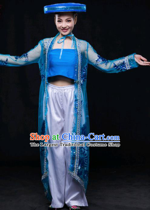Chinese Traditional Jing Nationality Blue Outfits Ethnic Minority Folk Dance Stage Show Costume for Women