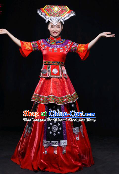 Chinese Traditional Zhuang Nationality Wedding Red Dress Ethnic Minority Folk Dance Stage Show Costume for Women