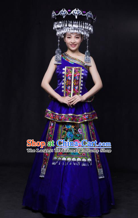 Chinese Traditional Miao Nationality Wedding Royalblue Dress Ethnic Minority Folk Dance Stage Show Costume for Women