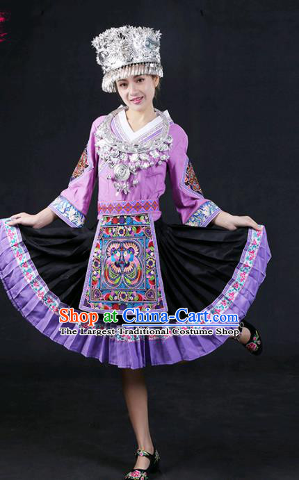Chinese Traditional Miao Nationality Stage Show Lilac Short Dress Ethnic Minority Folk Dance Costume for Women