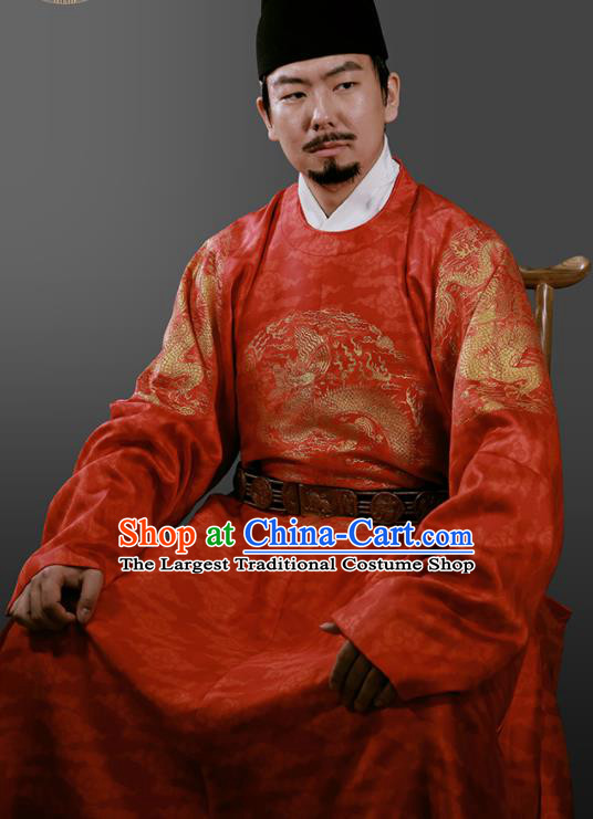 Chinese Ming Dynasty Royal Highness Embroidered Red Imperial Robe Ancient Emperor Costumes for Men