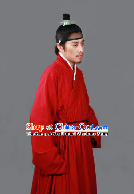Traditional Chinese Ming Dynasty Taoist Priest Red Robe Ancient Swordsman Costumes for Men