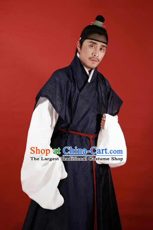 Traditional Chinese Ming Dynasty Officer Hanfu Clothing Ancient Taoist Priest Costumes for Men