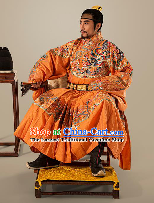 Traditional Chinese Ming Dynasty Emperor Golden Embroidered Robe Ancient King Costumes for Men