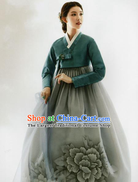 Korean Traditional Hanbok Mother Green Blouse and Printing Peony Grey Dress Outfits Asian Korea Wedding Fashion Costume for Women