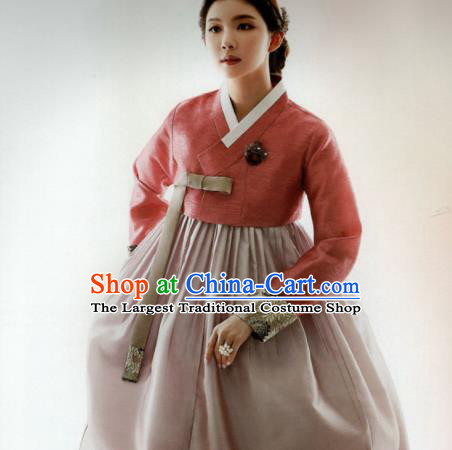 Korean Traditional Hanbok Mother Orange Blouse and Cameo Brown Dress Outfits Asian Korea Wedding Fashion Costume for Women