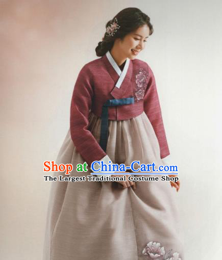 Korean Traditional Hanbok Wedding Mother Purplish Red Blouse and Grey Dress Outfits Asian Korea Fashion Costume for Women