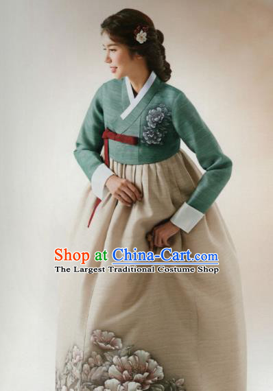 Korean Traditional Hanbok Wedding Mother Printing Peony Green Blouse and Beige Dress Outfits Asian Korea Fashion Costume for Women