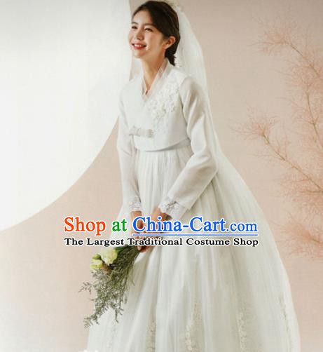 Korean Traditional Hanbok Wedding Bride White Blouse and Dress Outfits Asian Korea Fashion Costume for Women