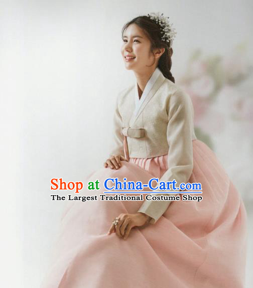 Korean Traditional Hanbok Wedding Bride Beige Blouse and Pink Dress Outfits Asian Korea Fashion Costume for Women