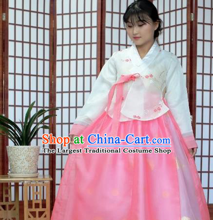 Korean Traditional Hanbok White Blouse and Pink Dress Outfits Asian Korea Wedding Fashion Costume for Women