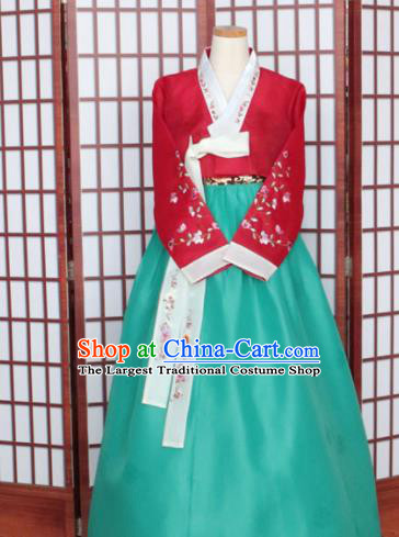 Korean Traditional Hanbok Red Blouse and Green Dress Outfits Asian Korea Wedding Fashion Costume for Women