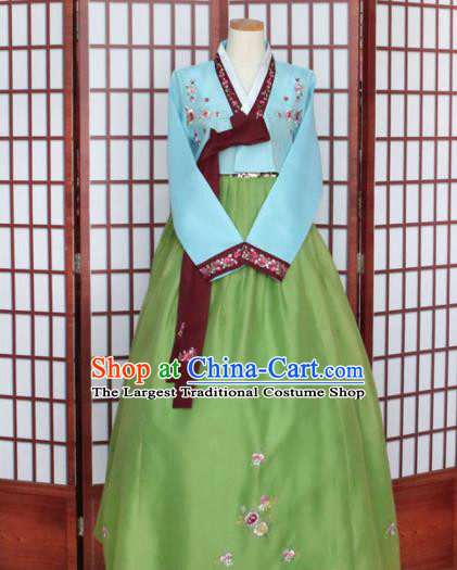 Korean Traditional Hanbok Blue Blouse and Green Dress Outfits Asian Korea Wedding Fashion Costume for Women