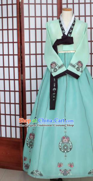 Korean Traditional Hanbok Green Blouse and Dress Outfits Asian Korea Wedding Fashion Costume for Women