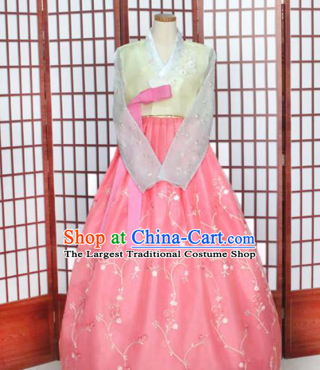 Korean Traditional Hanbok Yellow Blouse and Pink Dress Outfits Asian Korea Wedding Fashion Costume for Women