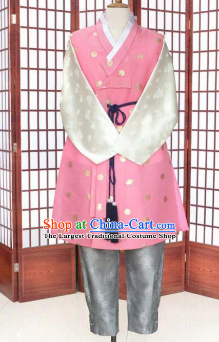 Korean Traditional Pink Shirt and Grey Pants Hanbok Asian Korea Bridegroom Fashion Costume for Men