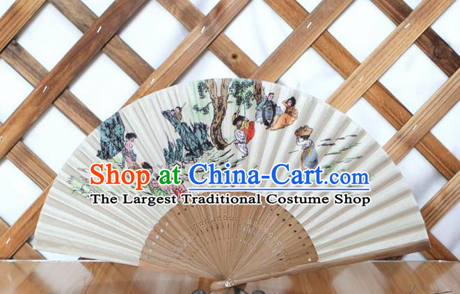 Korean Traditional Folk Wood Folding Fan Asian Korea Printing Paper Fans for Women