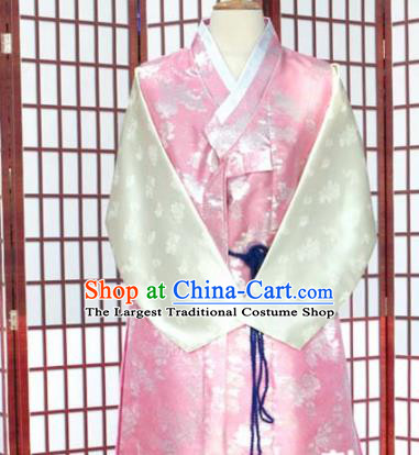 Korean Traditional Pink Satin Shirt and Grey Pants Hanbok Asian Korea Bridegroom Fashion Costume for Men