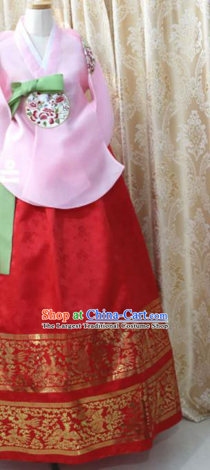 Korean Traditional Garment Hanbok Pink Blouse and Red Dress Outfits Asian Korea Fashion Costume for Women