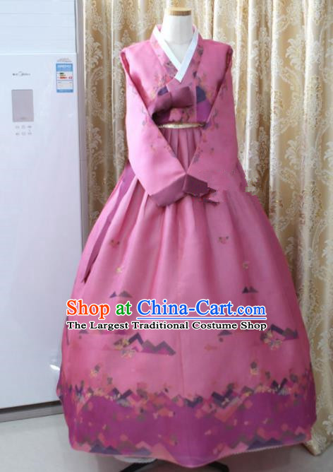 Korean Traditional Garment Hanbok Lilac Blouse and Dress Outfits Asian Korea Fashion Costume for Women