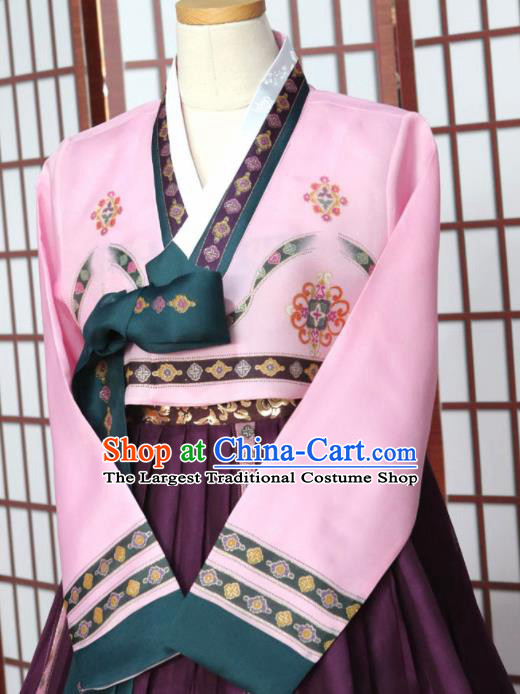 Korean Traditional Garment Hanbok Pink Blouse and Purple Dress Outfits Asian Korea Fashion Costume for Women