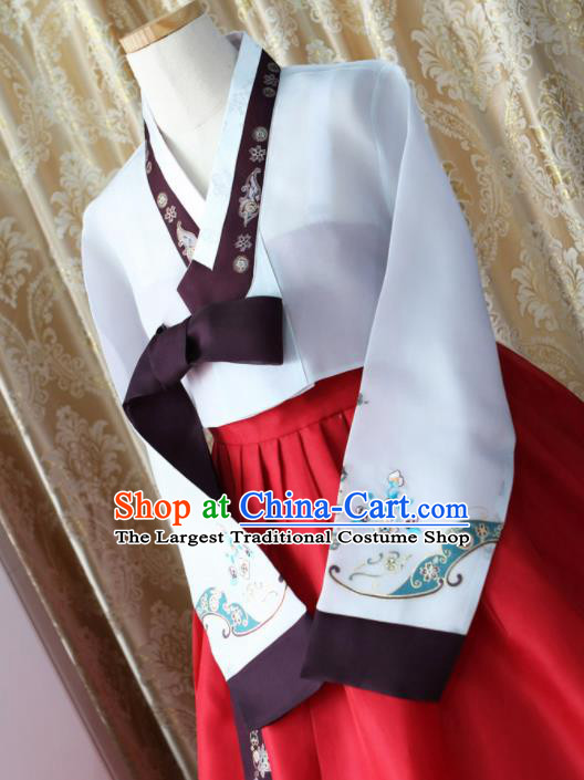 Korean Traditional Garment Hanbok White Blouse and Red Dress Outfits Asian Korea Fashion Costume for Women