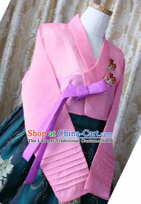 Korean Traditional Garment Hanbok Pink Blouse and Green Dress Outfits Asian Korea Fashion Costume for Women