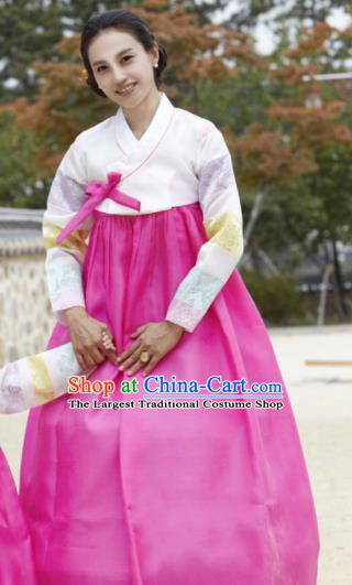 Korean Traditional Garment Hanbok White Blouse and Rosy Dress Outfits Asian Korea Fashion Costume for Women