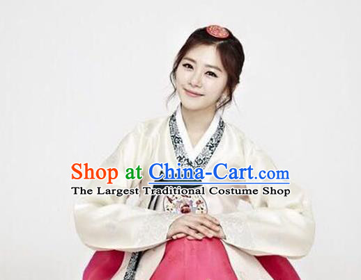 Korean Traditional Garment Hanbok Beige Blouse and Rosy Dress Outfits Asian Korea Fashion Costume for Women
