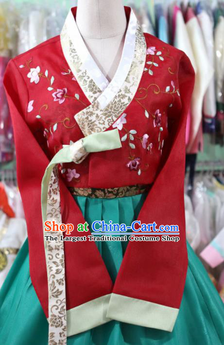 Korean Traditional Bride Garment Hanbok Embroidered Red Blouse and Green Dress Outfits Asian Korea Fashion Costume for Women