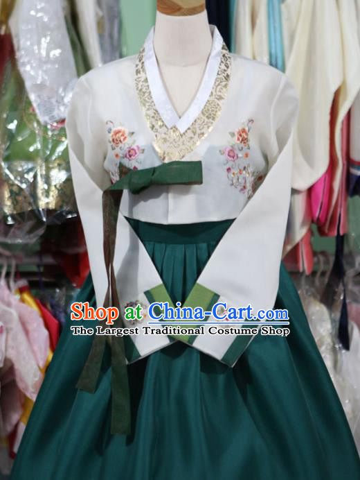 Korean Traditional Bride Garment Hanbok Embroidered White Blouse and Green Dress Outfits Asian Korea Fashion Costume for Women