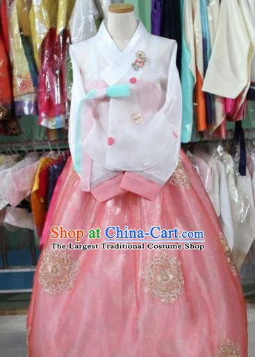 Korean Traditional Garment Bride Hanbok White Blouse and Pink Dress Outfits Asian Korea Fashion Costume for Women
