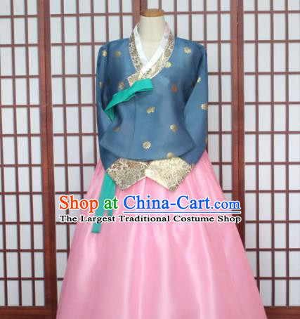 Korean Traditional Hanbok Blue Blouse and Pink Dress Outfits Asian Korea Fashion Costume for Women
