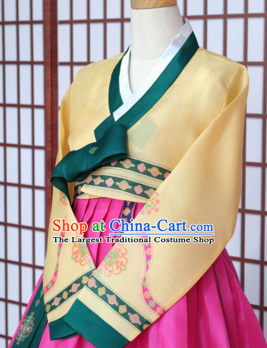 Korean Traditional Hanbok Yellow Blouse and Rosy Dress Outfits Asian Korea Fashion Costume for Women