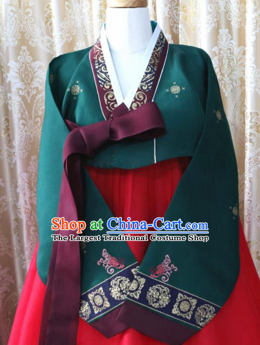 Korean Traditional Hanbok Deep Green Blouse and Red Dress Outfits Asian Korea Fashion Costume for Women