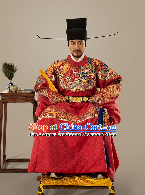 Traditional Chinese Ming Dynasty Emperor Red Embroidered Dress Ancient Royal King Costumes for Men