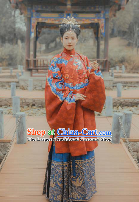 Chinese Traditional Ming Dynasty Palace Queen Wedding Embroidered Dress Ancient Royal Empress Costumes for Women