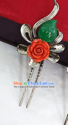 Korean Traditional Wedding Bride Red Rose Jade Hairpins Asian Korea Hanbok Hair Accessories for Women