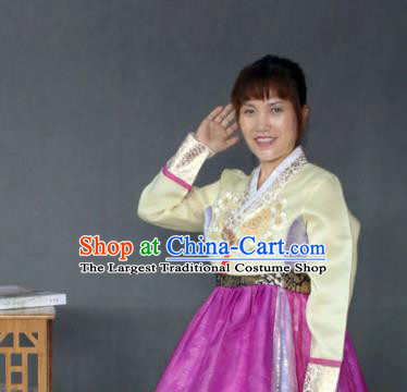 Korean Traditional Garment Bride Mother Hanbok Yellow Blouse and Purple Dress Asian Korea Fashion Costume for Women