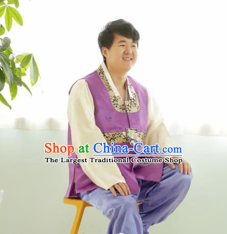Korean Traditional Purple Silk Vest and Pants Hanbok Asian Korea Bridegroom Fashion Costume for Men