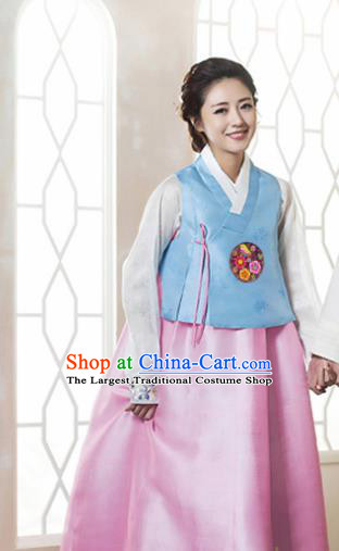 Korean Traditional Garment Bride Hanbok Blue Blouse and Pink Dress Asian Korea Fashion Costume for Women